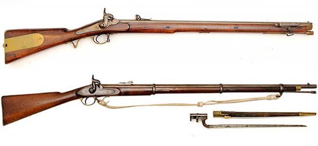 Люттехский штуцер образца 1843 года (в верху) и нарезная винтовка «Энфилд» (внизу).