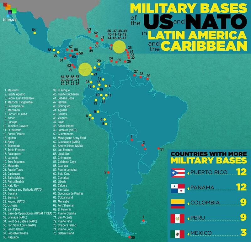 Соединённые Штаты имеют свои стратегические интересы в Латинской Америке и никто другой, включая самих латиноамериканцев, не должен там править бал. Карта военных баз США и НАТО в Латинской Америке.