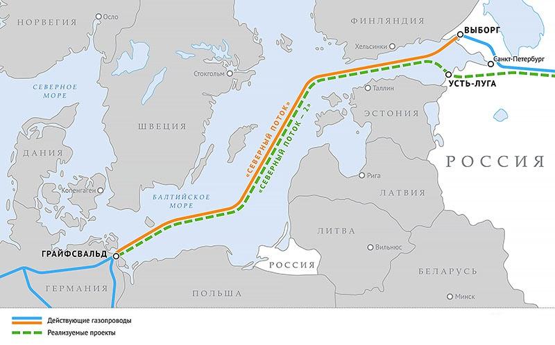 Схема газопроводов «Северный поток» и «Северный поток - 2».