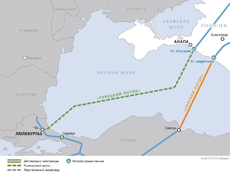 Схема газопровода «Турецкий поток».