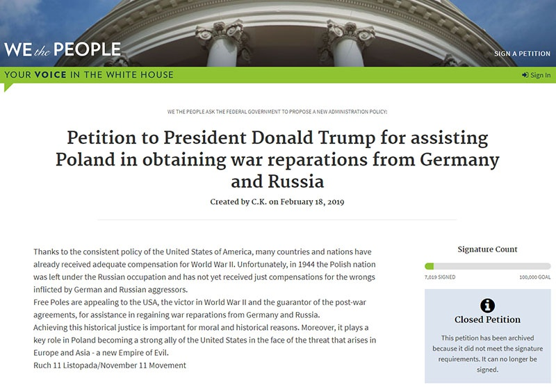 Петиция «Движения 11 ноября» на сайте Белого дома.