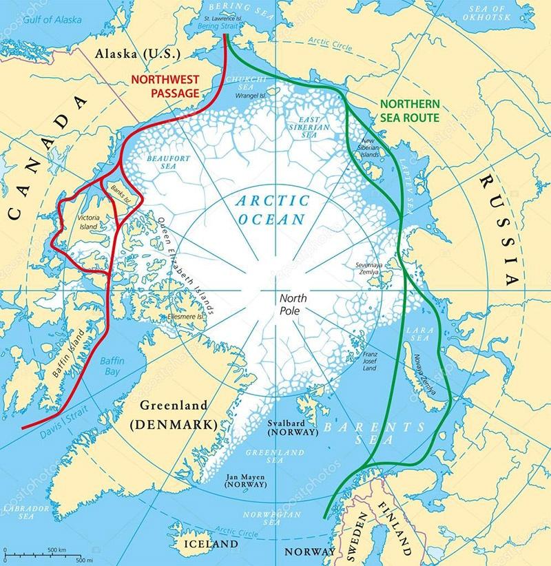 Карта Арктики- прилегающих стран и морских путей. .