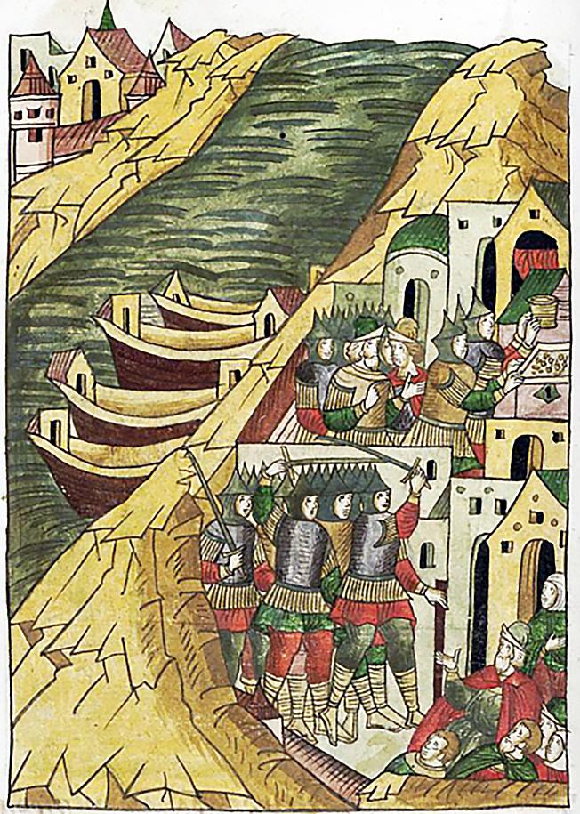 Новгородцы из Великого Новгорода, ушкуйники-разбойники, захватывают Кострому.