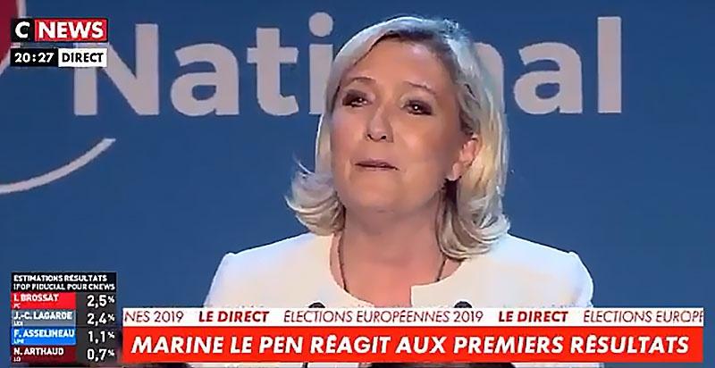 Во Франции победу праздновала Марин Ле Пен.