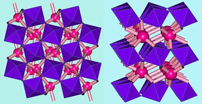 Минерал постперовскит (справа) имеет слоистую кристаллическую структуру в отличие от структуры ранее известного перовскита (слева).