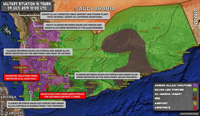 Карта противостояния в Йемене на 9 июля 2019 года.