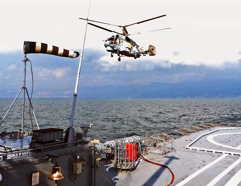Взаимодействие с вертолётом.