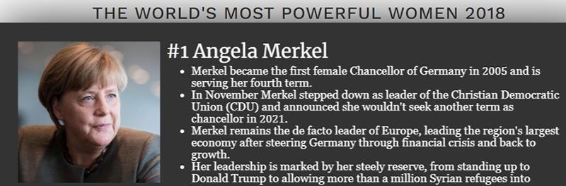 В прошлом году Меркель возглавила рейтинг 100 самых влиятельных женщин мира.