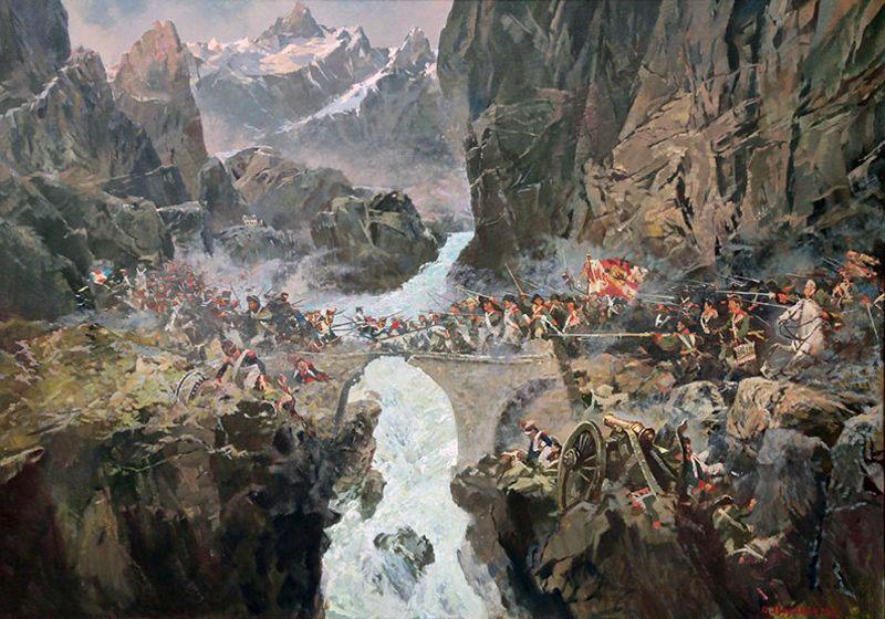 Бой на перевале Сен-Готард.