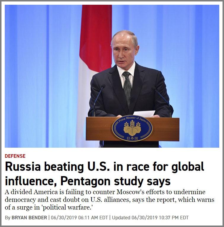 В статье «Россия обыграла США в гонке за глобальным влиянием» Politico разобрала по полочкам тезисы закрытого доклада Пентагона под названием «Стратегическая многоуровневая оценка».