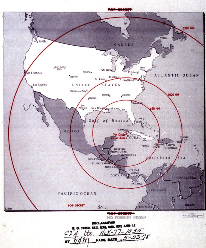 Карта радиуса действия советских ракет на Кубе времен Карибского кризиса.