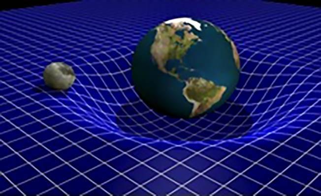 Деформация (искривление, по Эйнштейну) сетки поля СЭВ массой Земли.