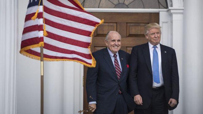 Президент США Дональд Трамп и советник президента США Рудольф Джулиани.