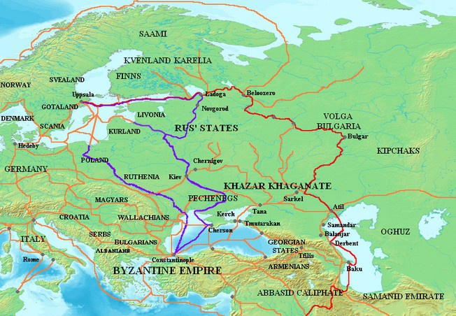 Путь «из варяг в греки» — название водного пути из Балтийского моря через Восточную Европу в Византию.