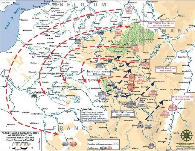 Диаграмма, показывающая общую идею плана Шлиффена 1905 года (отличного от применяемого в 1914 году): обозначены линии наступления армий, а также различные оборонительные сооружения Германии (красный), и Франции с Бельгией (синий).