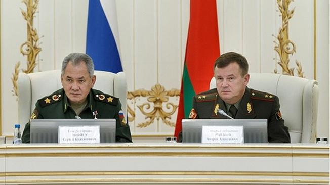 Министр обороны России Сергей Шойгу на совместной коллегии военных ведомств России и Белоруссии.