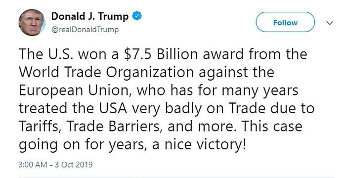 Дональд Трамп щёлкнул Евросоюз пошлинами на 7,5 миллиардов.