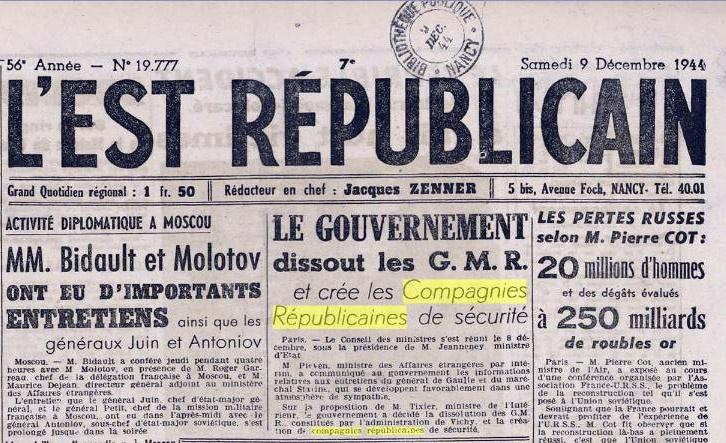 В 1944 г. была создана новая структура: республиканские роты безопасности, или CRS (Compagnies Républicaines de Sécurité).