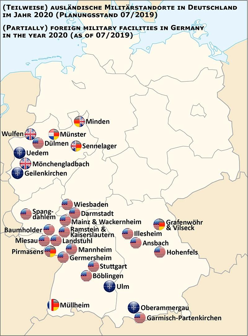 Иностранные военные базы на территории ФРГ, американцы лидируют по их количеству.
