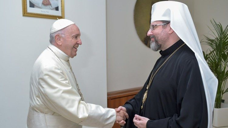 Униатский митрополит Святослав Шевчук со своим боссом.