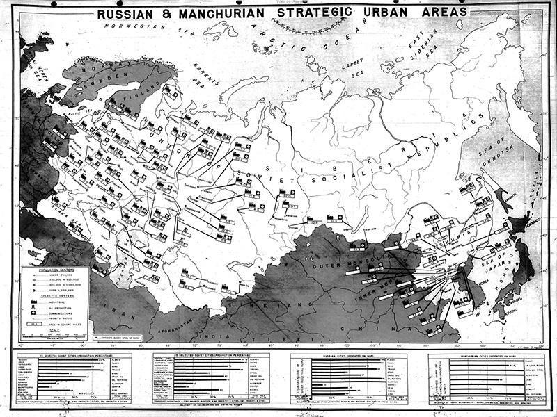 Карта стратегических районов в СССР по плану операции «Дропшот».