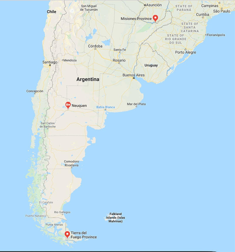 Места создания трёх американских военных баз в Аргентине.
