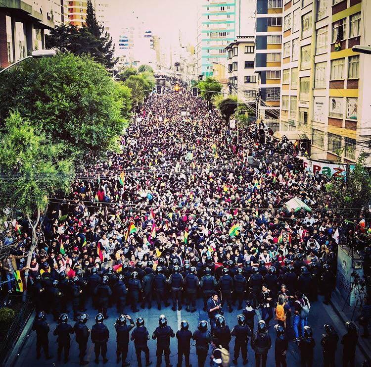 Демонстрация в Ла-Пасе против правительства Мадуры.