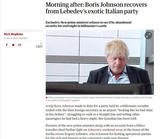 По версии The Guardian, Борис Джонсон приходит в себя после экзотической вечеринки на вилле Лебедева.