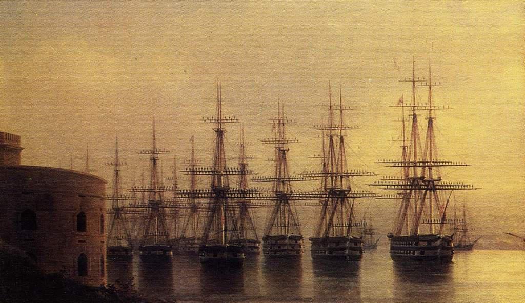 Эскадра Черноморского флота перед входом на Севастопольский рейд, фрагмент картины И.К. Айвазовского.