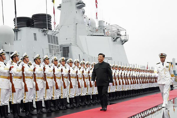 Си Цзиньпин на морском параде в честь 70-летия ВМС НОАК.