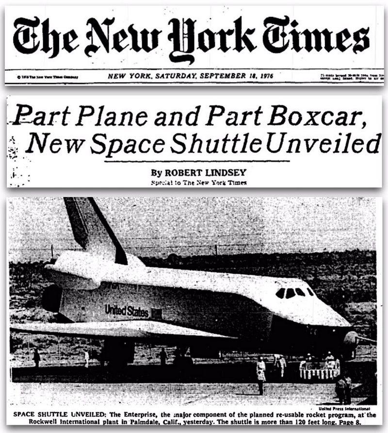 Презентация космического челнока в 1976 году.