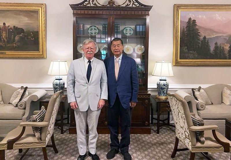 Медиа-магнат Джимми Лай обсуждал стратегию протестных действий в Сянгане с бывшим советником президента США по нацбезопасности Джоном Болтоном.