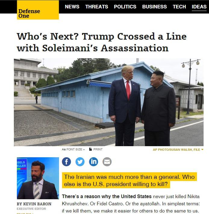 Убийством генерала Сулеймани Трамп перешёл черту.