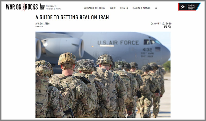 Статья «A Guide to Getting Real on Iran» Аарона Штайна.