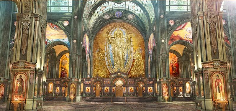 Внутренний придел Храма с образами святых.
