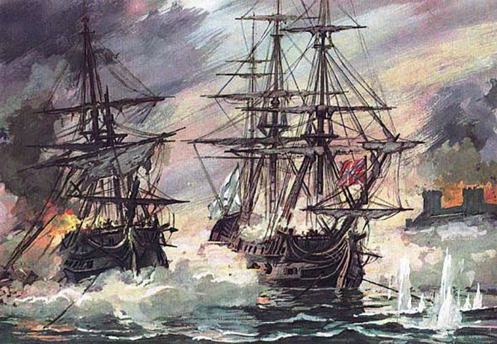 Пушечный корабль адмирала Ушакова «Святой Павел» в сражении у Фидониси.