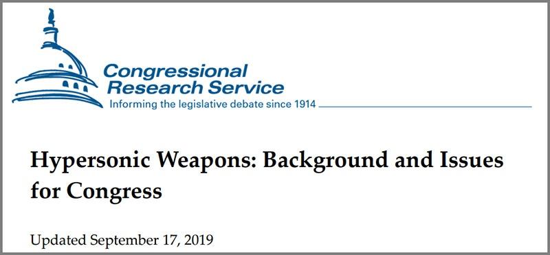 Доклад Hypersonic Weapons: Background and Issues for Congress, подготовленный для Конгресса США.