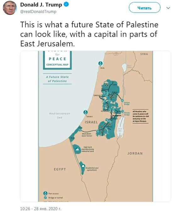 План разграничения земель по мнению главы США.