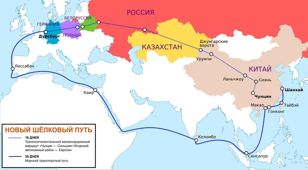 Карта проекта «Великий шёлковый путь».
