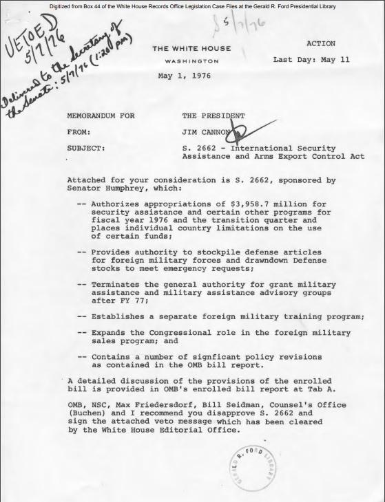 Принятый в 1976 году закон International Security Assistance and Arms Export Control Act.