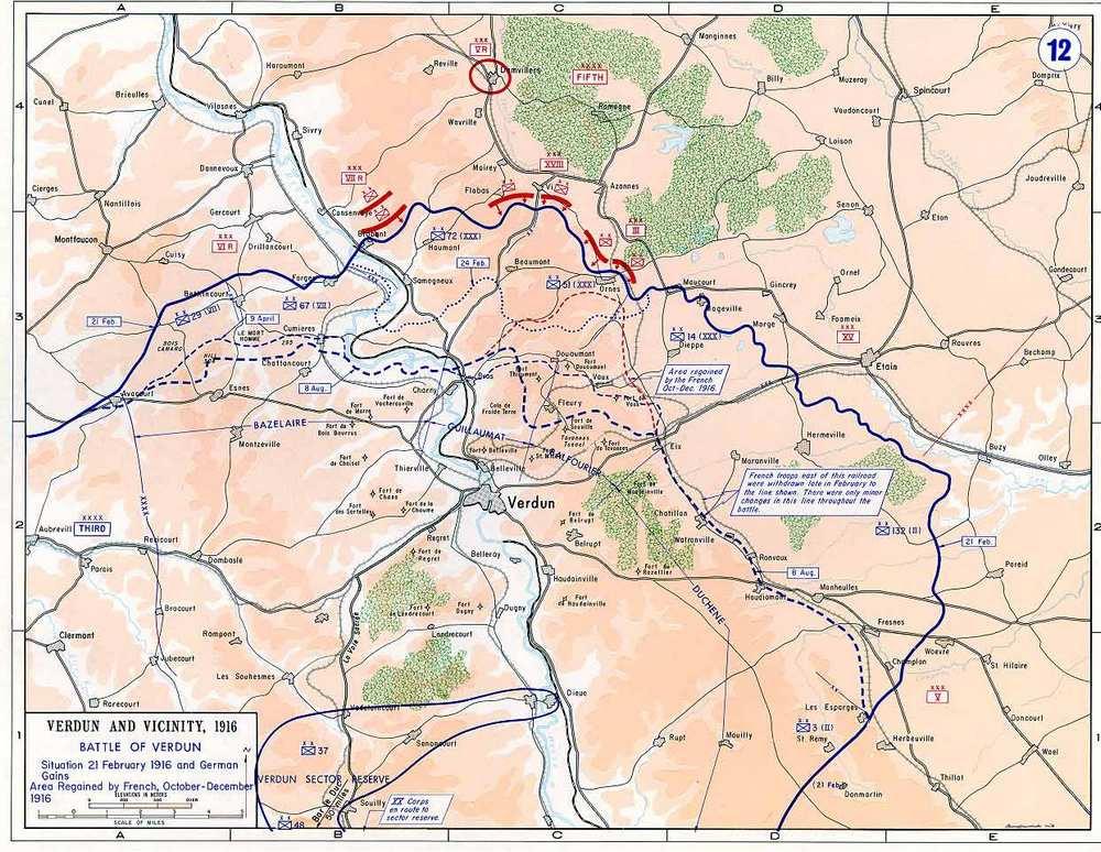 Карта битвы при Вердене.