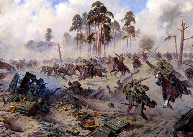 Атака казаков во время Восточно-Прусской операции.