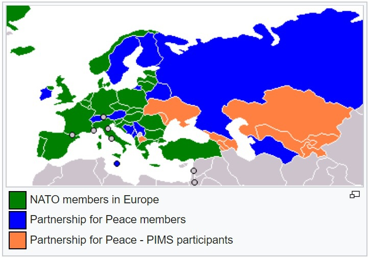 Карта программы «Партнёрство ради мира».