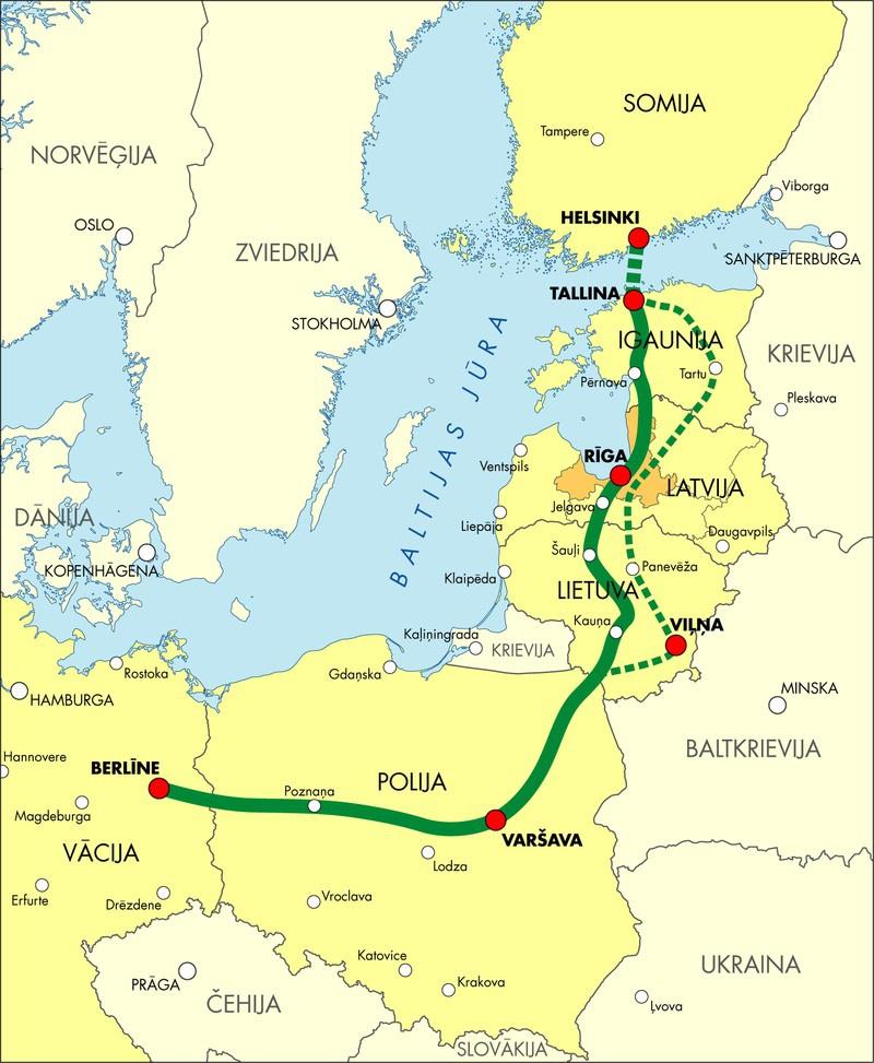 Планы прокладки скоростной железнодорожной магистрали Rail Baltica.