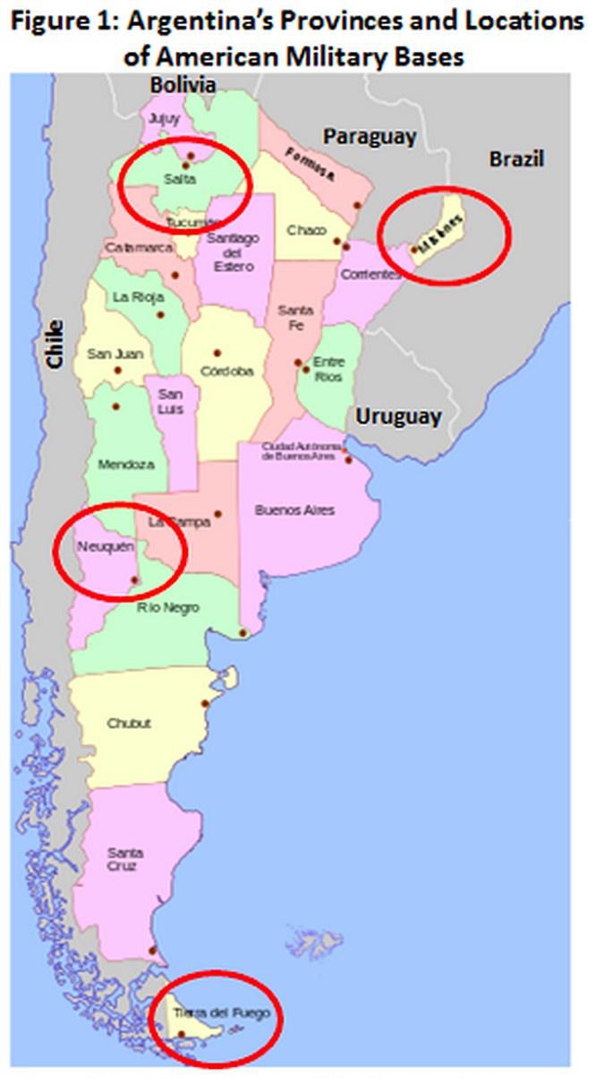 Карта расположения военных баз США в Аргентине.