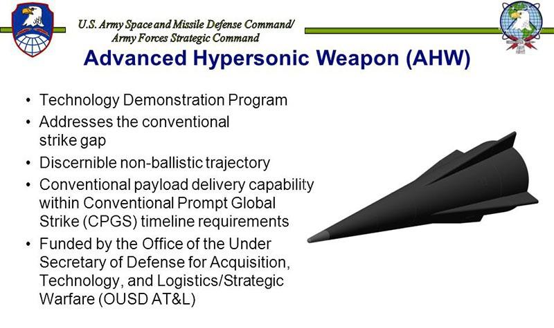 Американские гиперзвуковые ракетные проекты основаны на проекте Advanced Hypersonic Weapon.