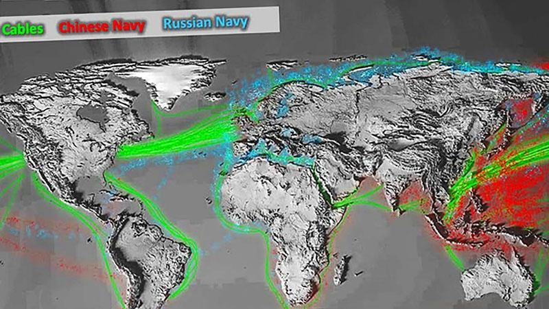 Американская карта с зонами активной деятельности ВМФ России и Китая.