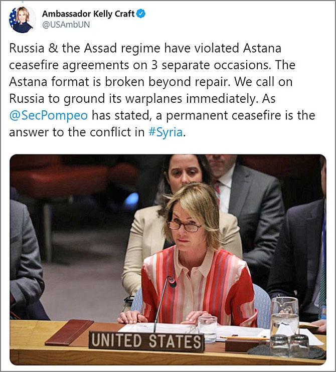 Представитель США при ООН Келли Крафт последовательно проводит антироссийскую и антиасадовскую линию.