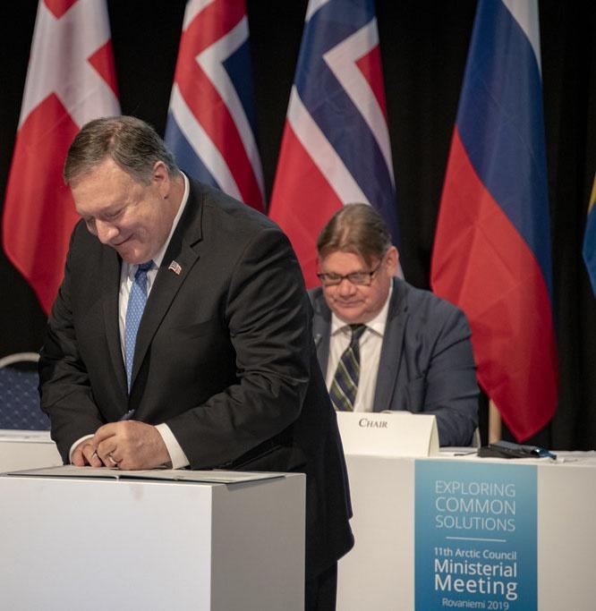 Госсекретарь США Майк Помпео на Арктическом форуме в прошлом году.