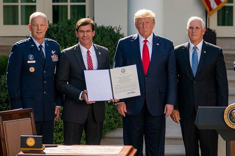 Создание Космических войск и отдельного командования US SPACECOM 29 августа 2019 года..